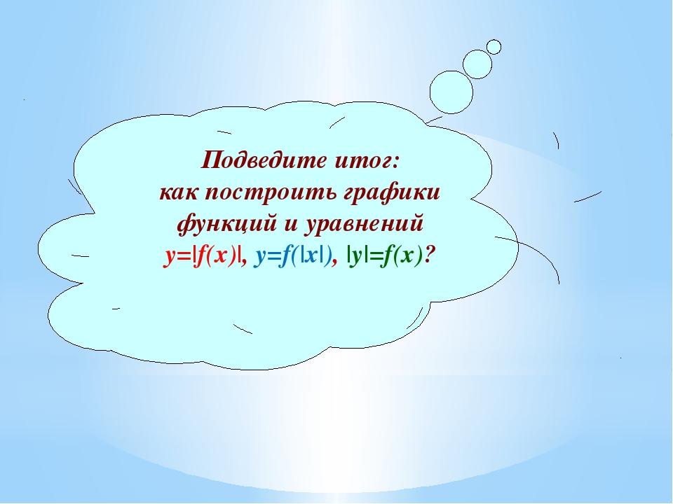 Подведите итог: как построить графики функций и уравнений у=|f(x)|, у=f(|x|),...