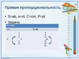 Прямая пропорциональность. S=ab, s=vt, C=cm, P=pt Задача V=4км/ч t,ч S,км 1 2
