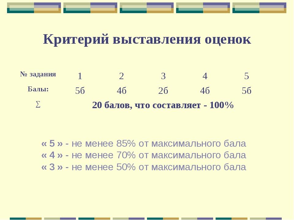 Критерий выставления оценок « 5 » - не менее 85% от максимального бала « 4 »...