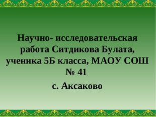 Научно- исследовательская работа Ситдикова Булата, ученика 5Б класса, МАОУ СО