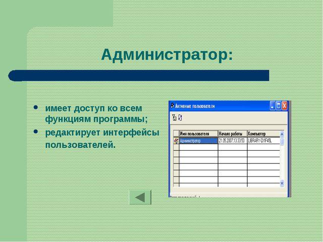 Администратор: имеет доступ ко всем функциям программы; редактирует интерфейс...