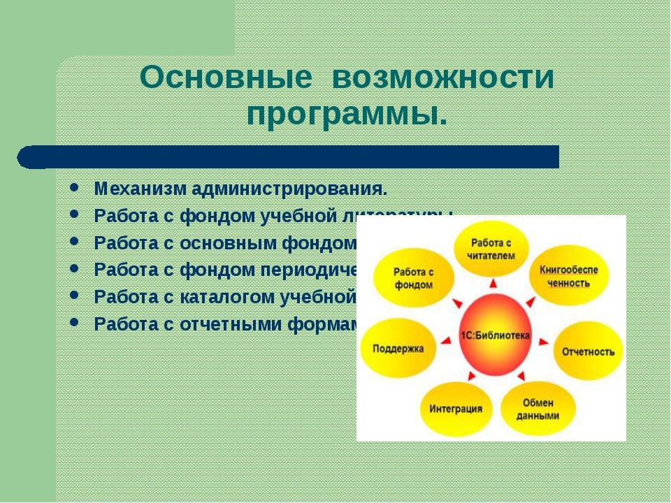Основные возможности программы. Механизм администрирования. Работа с фондом у...