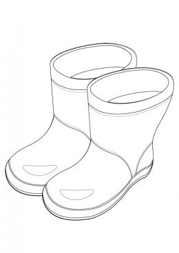 Раскраска Резиновые сапоги, скачать и распечатать раскраску раздела Одежда