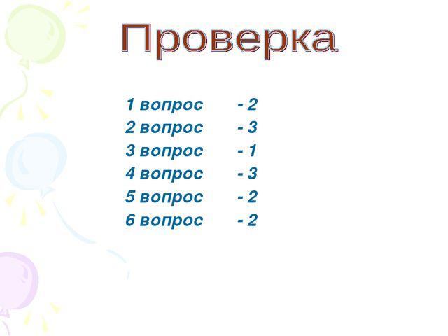 1 вопрос - 2 2 вопрос - 3 3 вопрос - 1 4 вопрос - 3 5 вопрос - 2 6 вопрос - 2