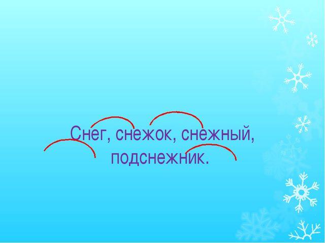 Снег, снежок, снежный, подснежник.