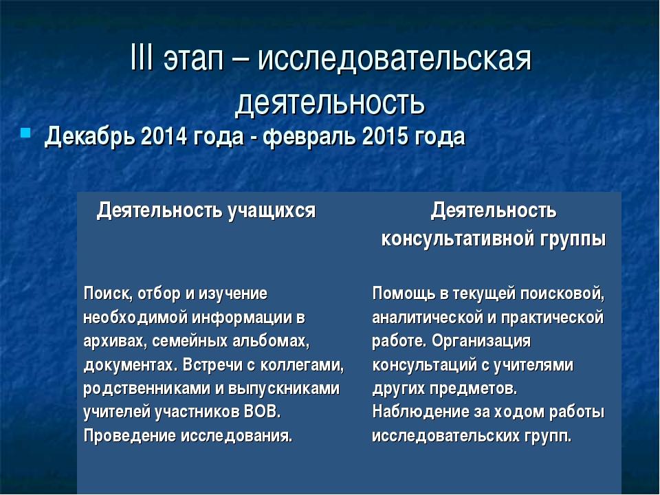 III этап – исследовательская деятельность Декабрь 2014 года - февраль 2015 го...