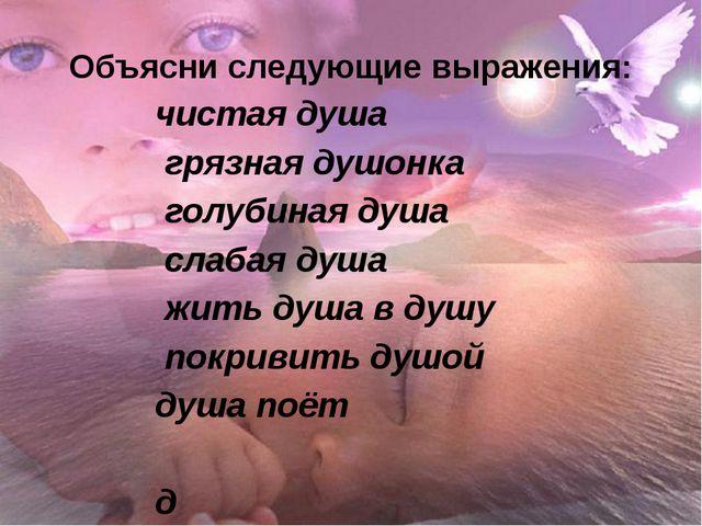 Объясни следующие выражения: чистая душа грязная душонка голубиная душа слаба...