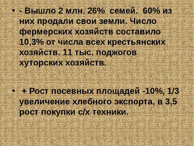 - Вышло 2 млн. 26% семей. 60% из них продали свои земли. Число фермерских хо...