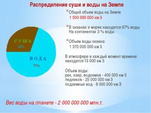Общий объем воды на Земле 1 500 000 000 км 3 В океанах и морях находится 97%