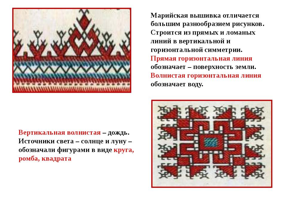 Марийская вышивка отличается большим разнообразием рисунков. Строится из пря...