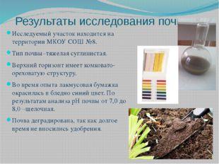 Результаты исследования почвы Исследуемый участок находится на территории МКО