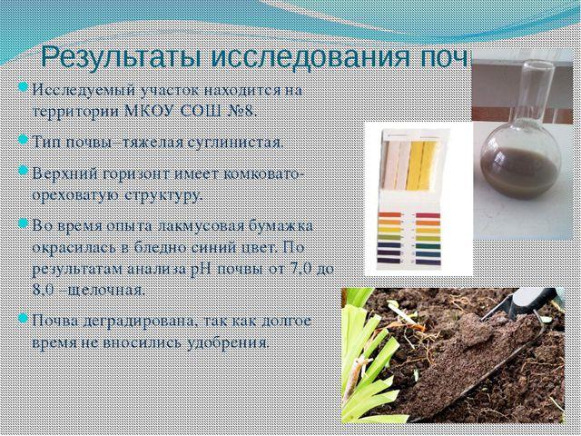 Результаты исследования почвы Исследуемый участок находится на территории МКО...