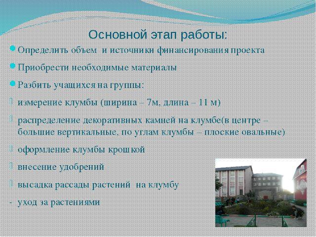 Основной этап работы: Определить объем и источники финансирования проекта При...