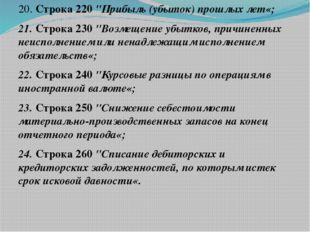 """20. Строка 220 """"Прибыль (убыток) прошлых лет«; 21. Строка 230 """"Возмещение убы"""