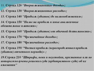 """11. Строка 120 """"Внереализационные доходы«; 12. Строка 130 """"Внереализационные"""
