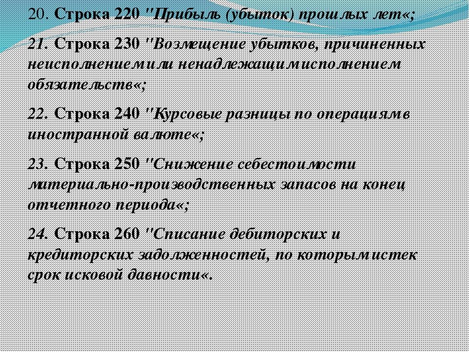 """20. Строка 220 """"Прибыль (убыток) прошлых лет«; 21. Строка 230 """"Возмещение убы..."""