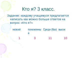 Кто я? 3 класс. Задание: каждому учащемуся предлагается написать как можно бо