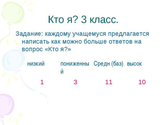 Кто я? 3 класс. Задание: каждому учащемуся предлагается написать как можно бо...
