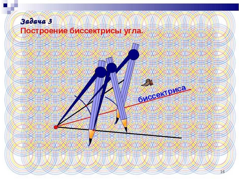 * биссектриса Задача 3 Построение биссектрисы угла.