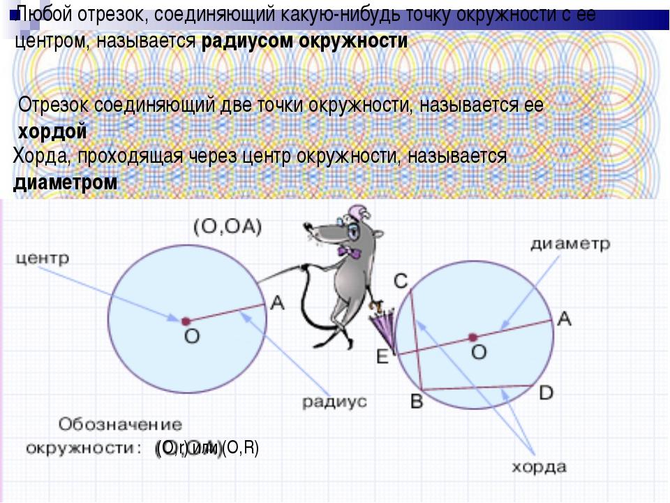 * (O,r) или (O,R) Любой отрезок, соединяющий какую-нибудь точку окружности с...