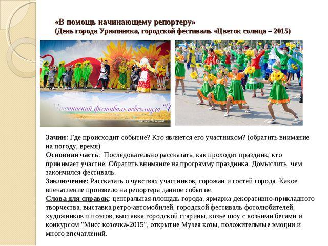 «В помощь начинающему репортеру» (День города Урюпинска, городской фестиваль...