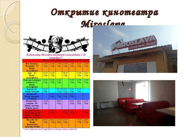 Открытие кинотеатра Miroslava