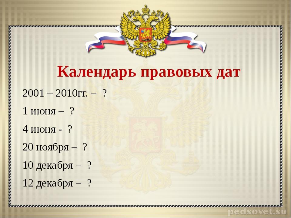 Календарь правовых дат 2001 – 2010гг. – ? 1 июня – ? 4 июня - ? 20 ноября – ?...