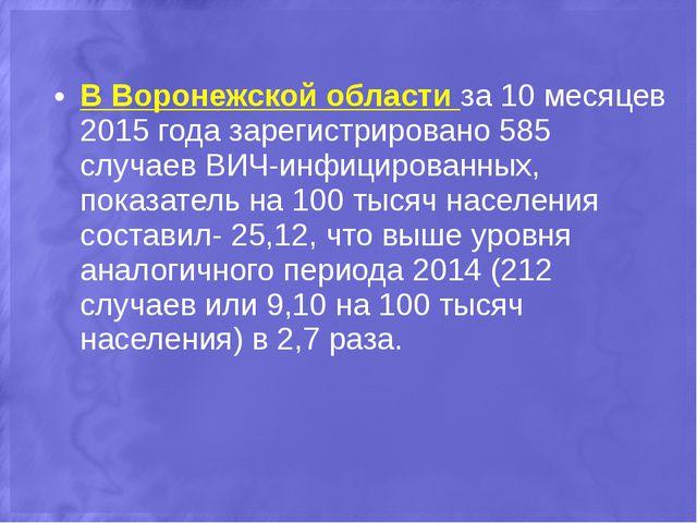 В Воронежской области за 10 месяцев 2015 года зарегистрировано 585 случаев ВИ...