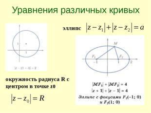 Уравнения различных кривых окружность радиуса R с центром в точке z0 эллипс