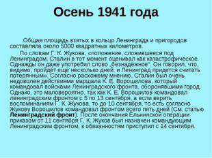 Осень 1941 года Общая площадь взятых в кольцо Ленинграда и пригородов составл