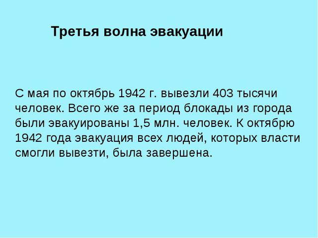 Третья волна эвакуации С мая по октябрь 1942г. вывезли 403 тысячи человек....