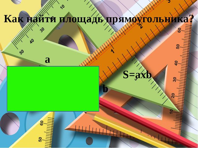 Как найти площадь прямоугольника? a b S=axb