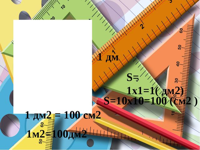 S=10x10=100 (см2 ) 1 дм S= 1x1=1( дм2) 1 дм2 = 100 см2 1м2=100дм2