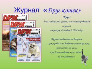 """Журнал «Друг кошек» """"Друг"""" для любителей кошек - иллюстрированный журнал о ко"""
