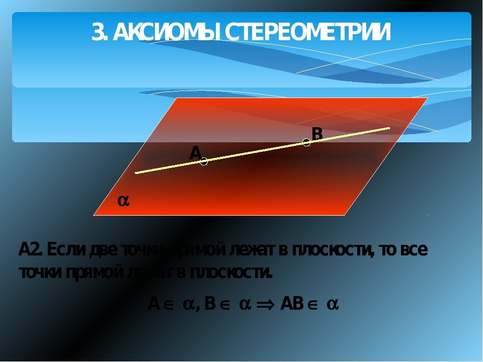 3. АКСИОМЫ СТЕРЕОМЕТРИИ A В А2. Если две точки прямой лежат в плоскости, то...