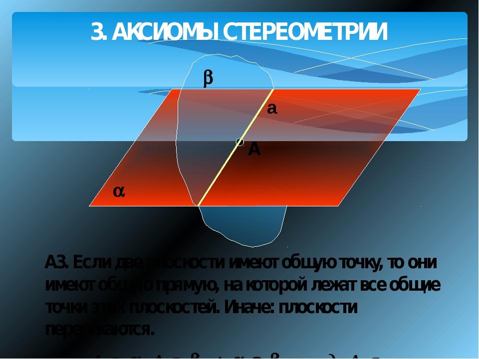 3. АКСИОМЫ СТЕРЕОМЕТРИИ A А3. Если две плоскости имеют общую точку, то они и...