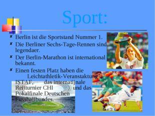 Sport: Berlin ist die Sportstand Nummer 1. Die Berliner Sechs-Tage-Rennen sin