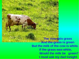 The cow eats grass And the grass is green But the milk of the cow is white. I