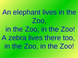 An elephant lives in the Zoo, in the Zoo, in the Zoo! A zebra lives there too