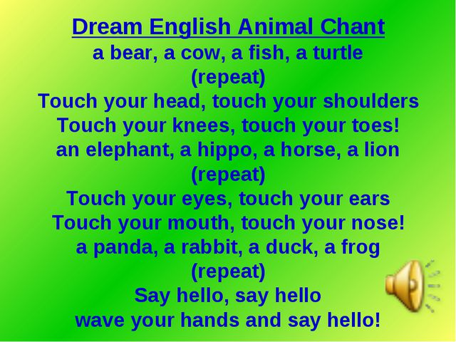 Dream English Animal Chant a bear, a cow, a fish, a turtle (repeat) Touch you...