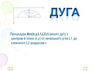 Процедура Arc(x,y,L1,L2,r) рисует дугу с центром в точке (х,у) от начального