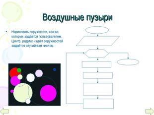 Нарисовать окружности, кол-во которых задается пользователем. Центр, радиус и