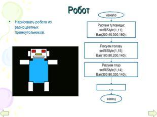Робот Нарисовать робота из разноцветных прямоугольников. начало Рисуем тулови