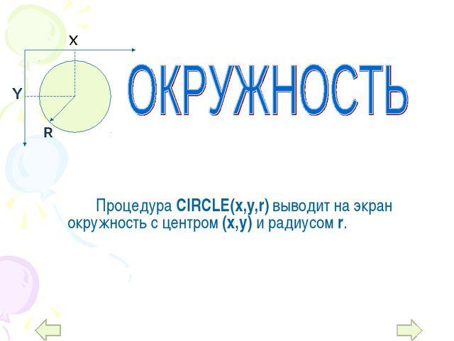 Процедура CIRCLE(x,y,r) выводит на экран окружность с центром (х,у) и ради...