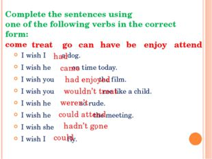 Complete the sentences using one of the following verbs in the correct form: