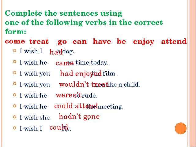 Complete the sentences using one of the following verbs in the correct form:...