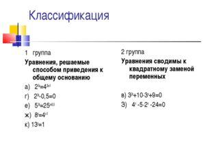 1 группа Уравнения, решаемые способом приведения к общему основанию а) 25х=4