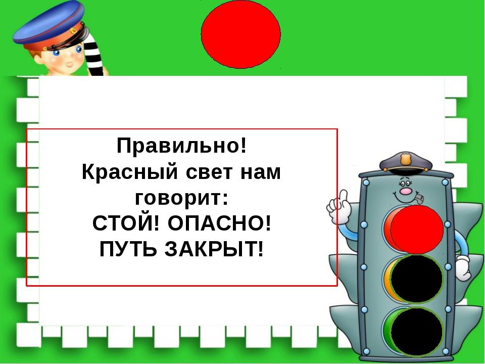 Правильно! Красный свет нам говорит: СТОЙ! ОПАСНО! ПУТЬ ЗАКРЫТ!