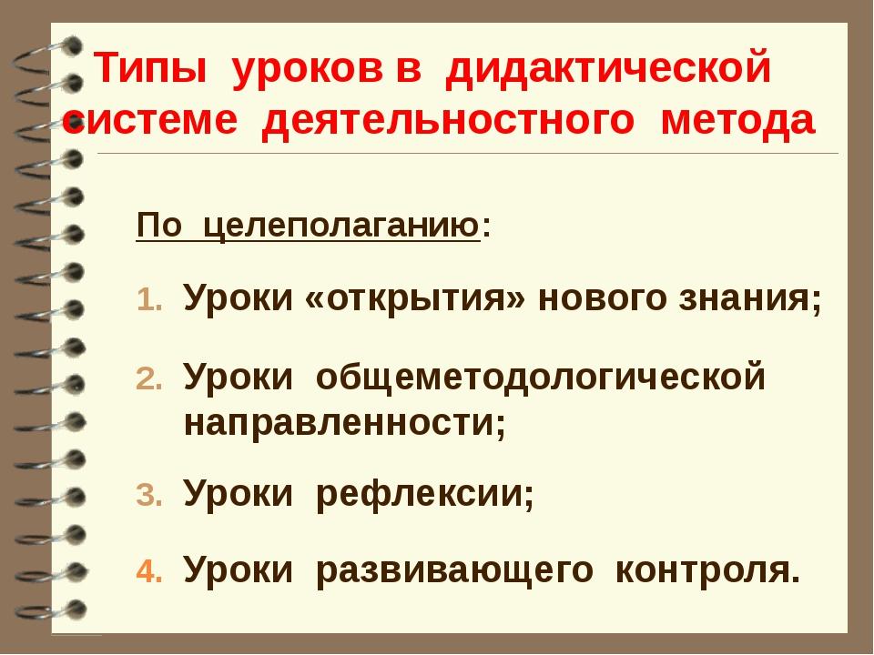Типы уроков в дидактической системе деятельностного метода По целеполаганию:...