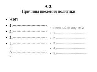 А-2. Причины введения политики НЭП 1.--------------------------- 2.----------